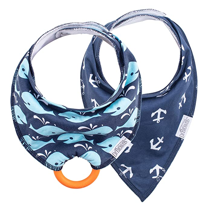 Dr. Brown?s Super Soft Bandana Bibs with Snap-On Teether, 3m+, Anchors & Whales, 2 Count