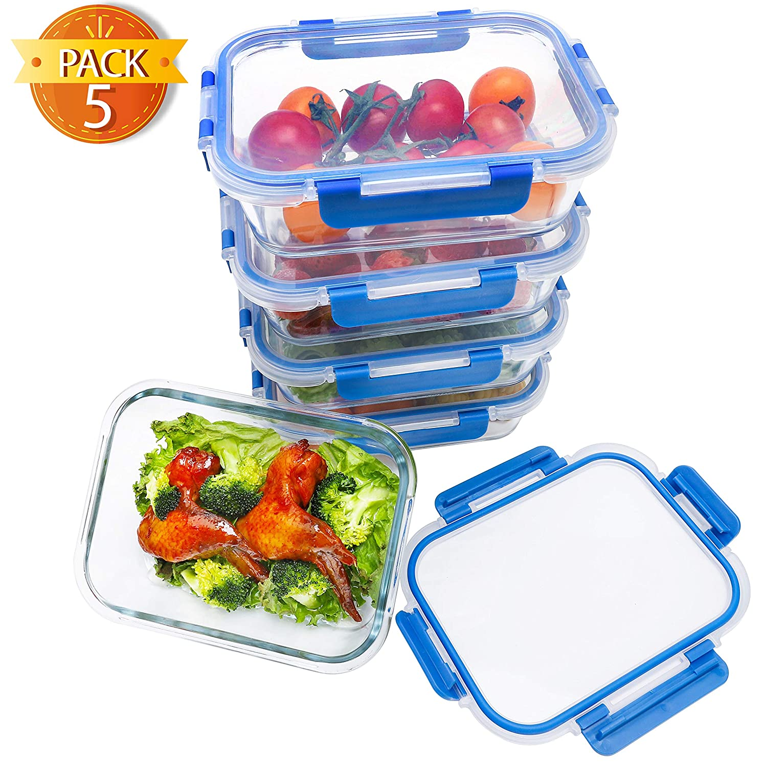 BlueHills Premium Glass Meal Prep Lunch Containers with Snap Lock Lids Glass Food Containers BPA-Free Microwave Oven Freezer Dishwasher Safe 5 pack set 10 pieces 4.5 Cups 36 Oz. (G001 One Compartment)