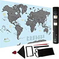 Scratch Off World Map | Travel Size Poster with US States, Complete Bundle for Easy Scratching & Traveler's Journal Chart | 16,5 x 11,8