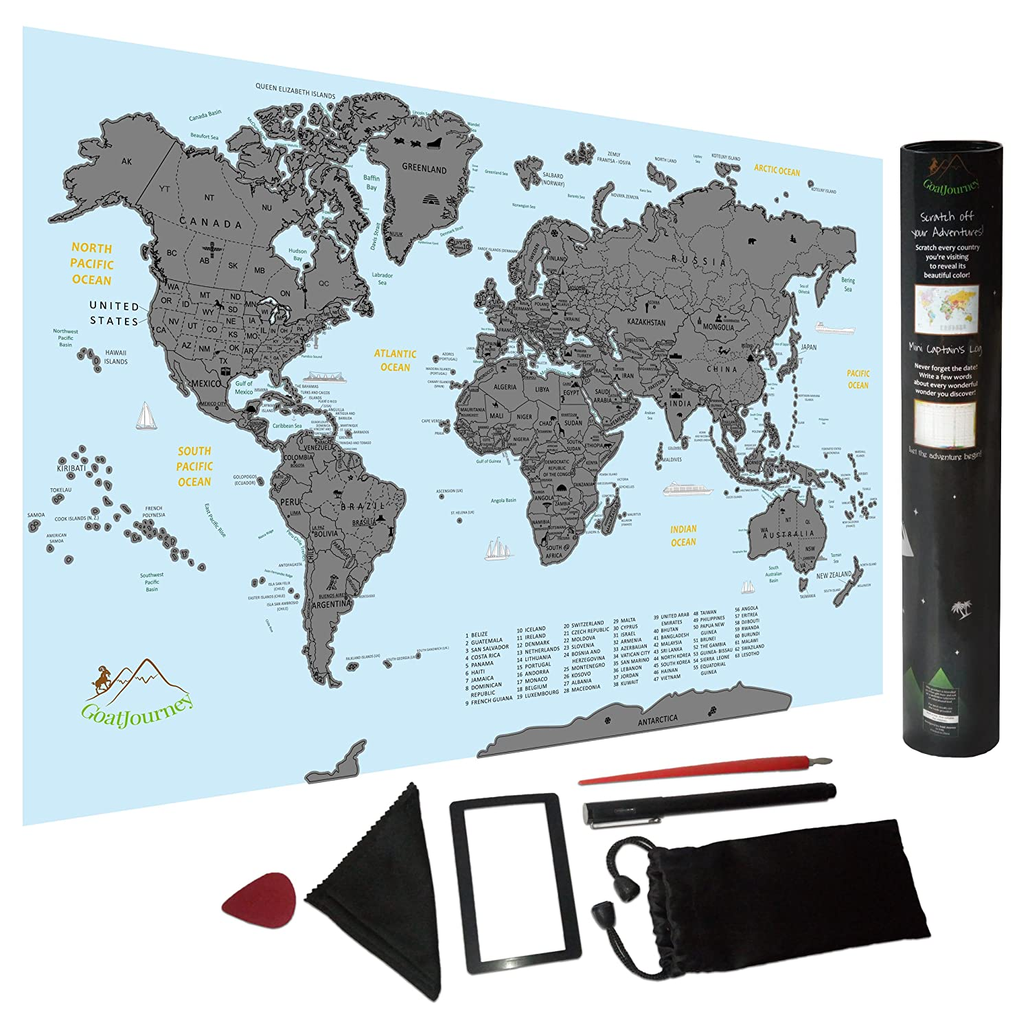 Amazon Com Scratch Off World Map Travel Size Poster With Us