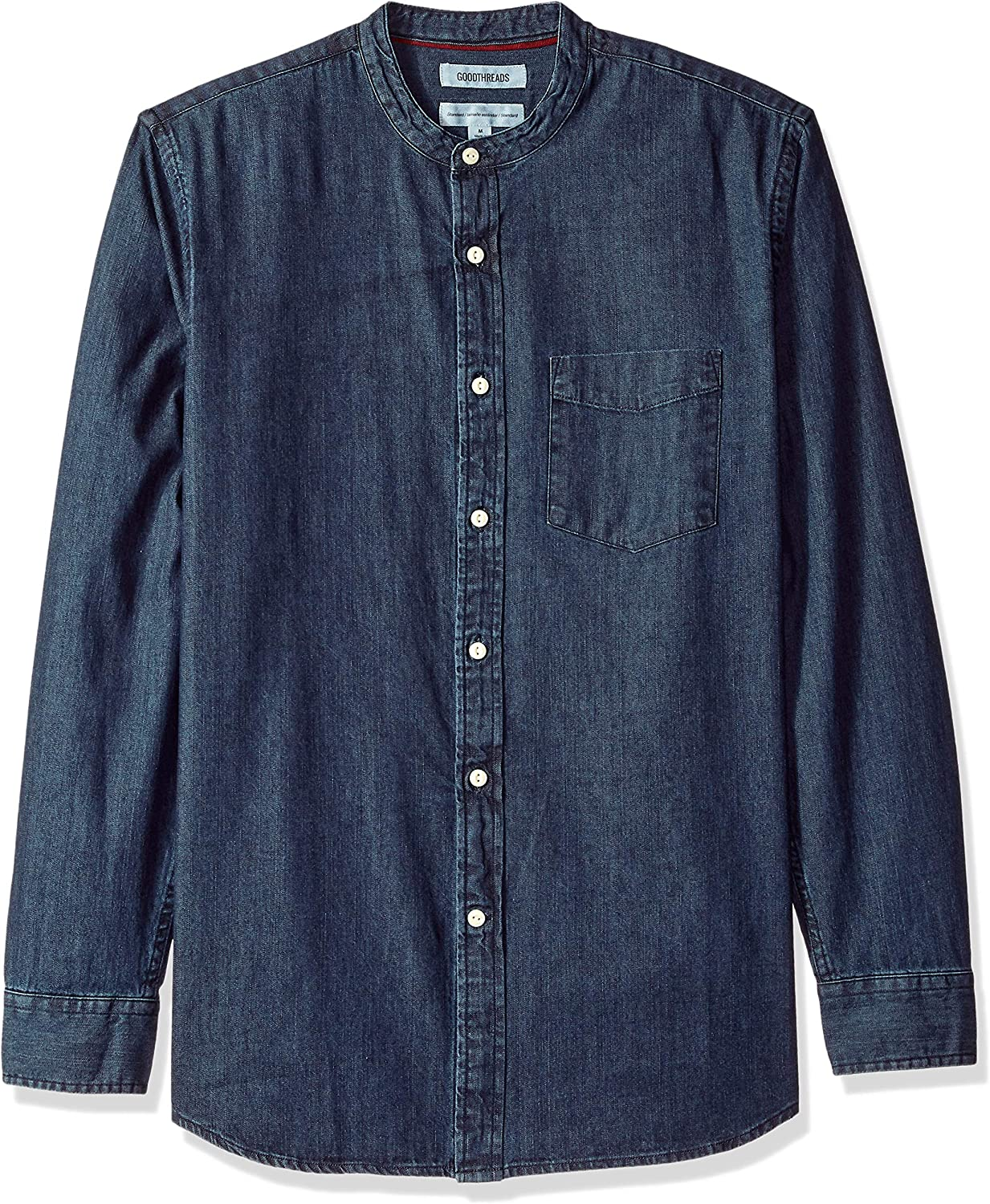 Men's Vintage Workwear Inspired Clothing Amazon Brand - Goodthreads Mens Standard-Fit Long-Sleeve Band-Collar Denim Shirt $30.00 AT vintagedancer.com
