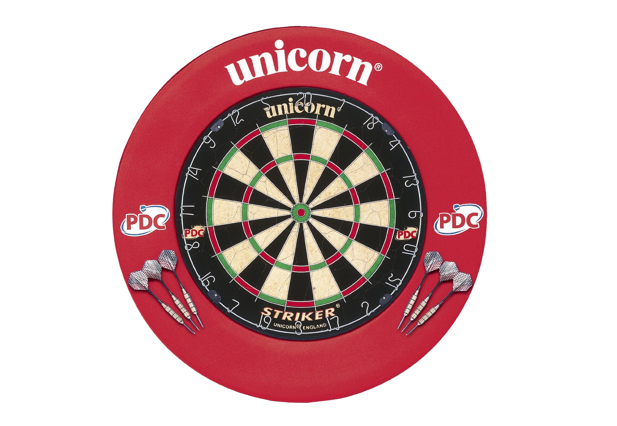 Unicorn STKER BRD & SRND Darts, Red, One Size
