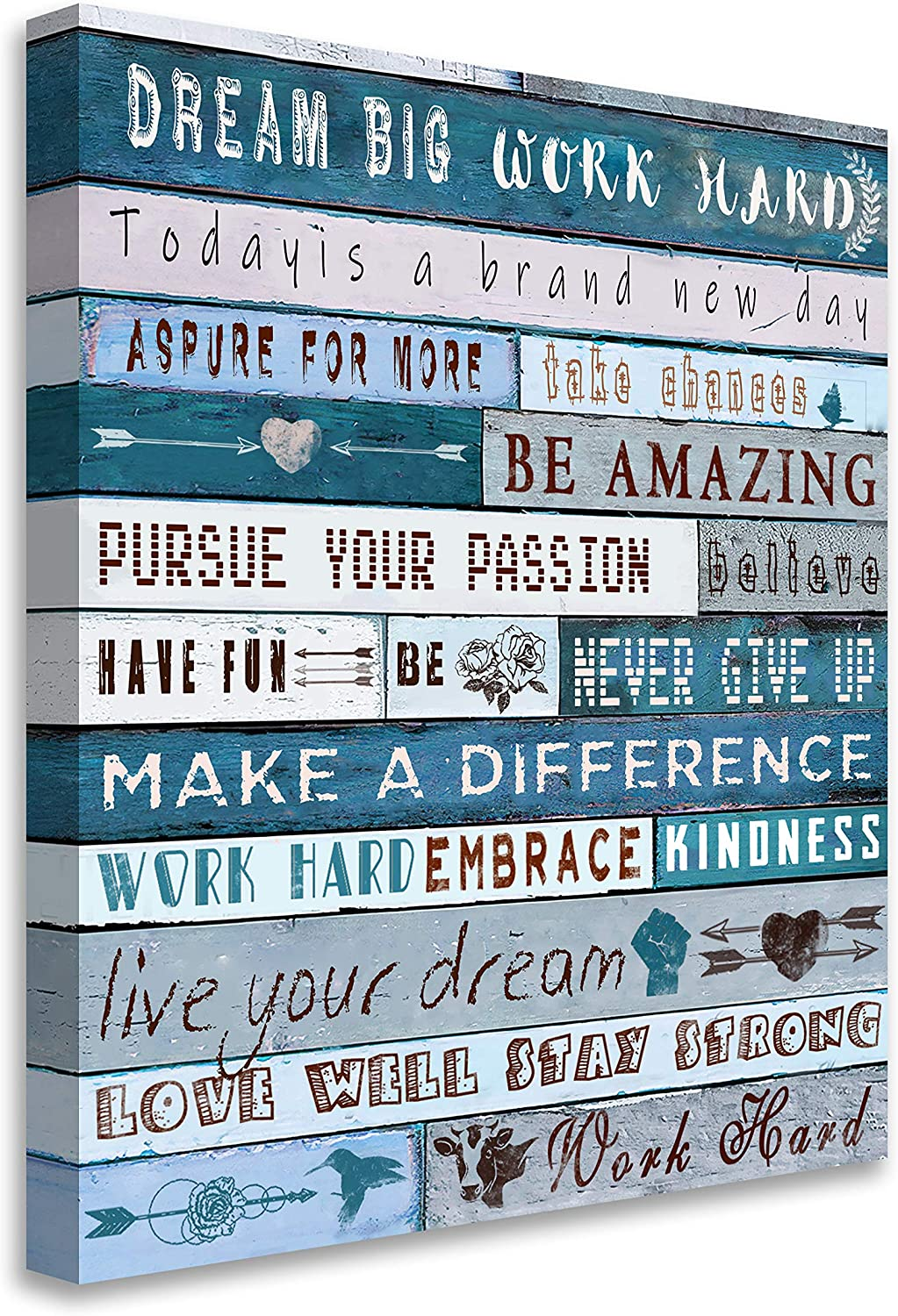 Blueyearn Inspirational Wall Art for Office Quotes Wall Decor for Women Teal Motivational Canvas Prints Framed Wall Art for Bathrooms Modern Office Decor Canvas Art Wall Decor,16x20in