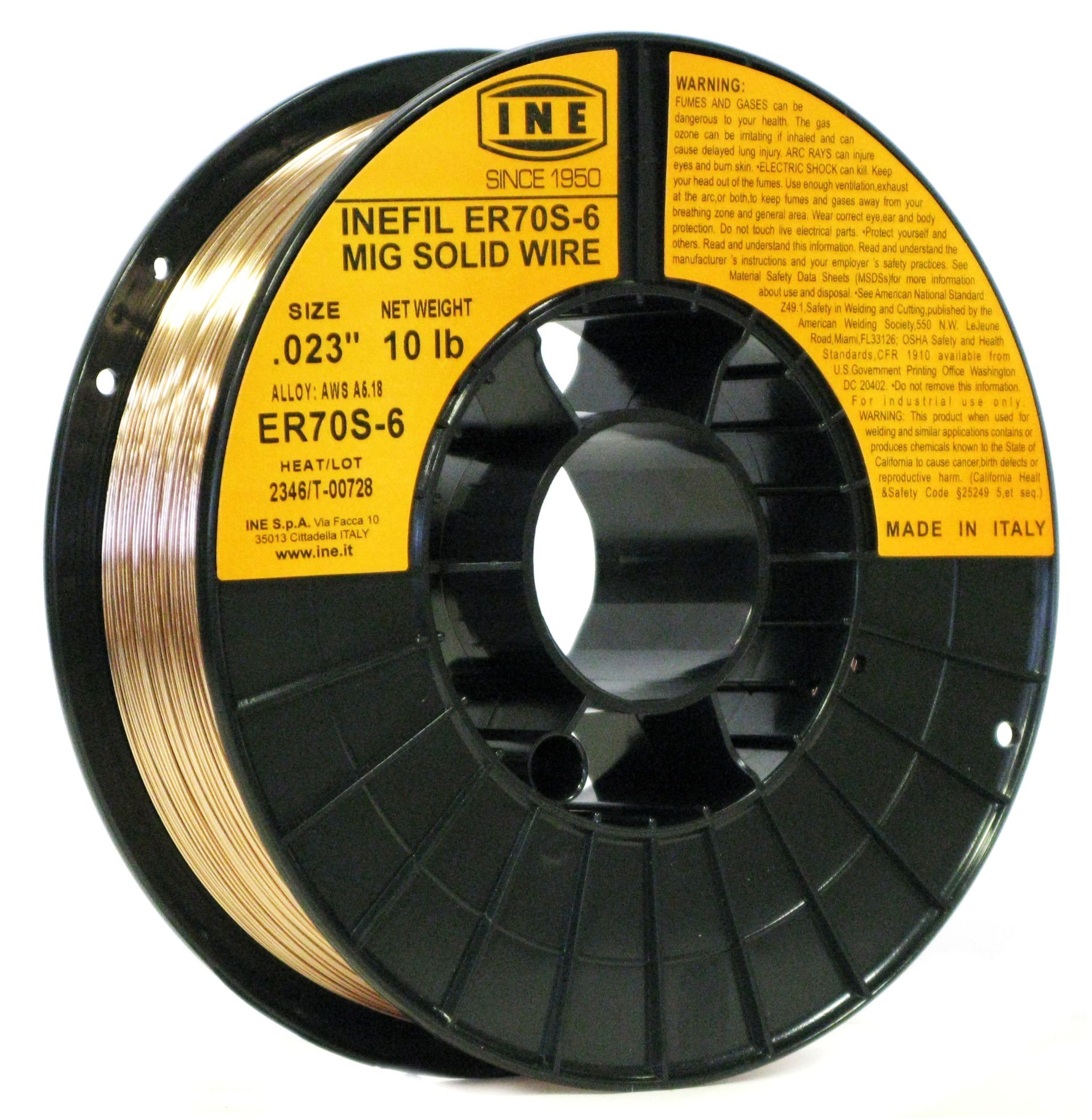 INEFIL ER70S-6 .023-Inch on 10-Pound Spool Carbon Steel Mig Solid Welding Wire by INE USA Since 1950
