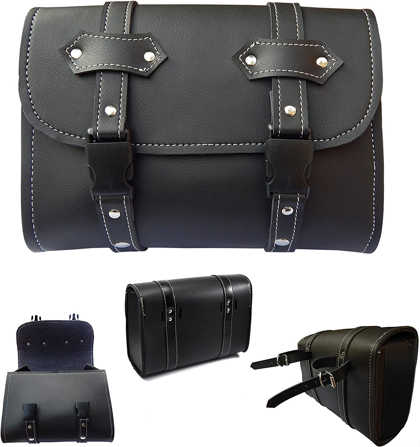 Defy Motorcycle Tool Bag Handlebar Saddle Bag Sissy Bar PU Leather Storage Piped Edges New