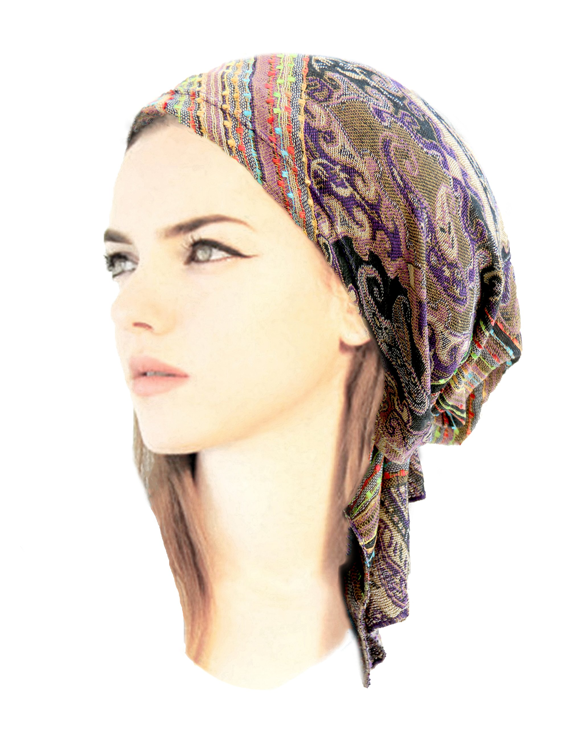 ShariRose Boho Chic Pre-Tied Headwear Versatile Ties Cool Knit Pashima Ethnic Print Collection (Purple - Short)