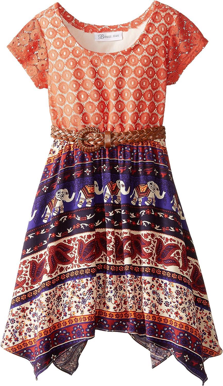 Bonnie Jean Little Girls' Dress Lace To Tribal Print Chiffon Belted Skirt
