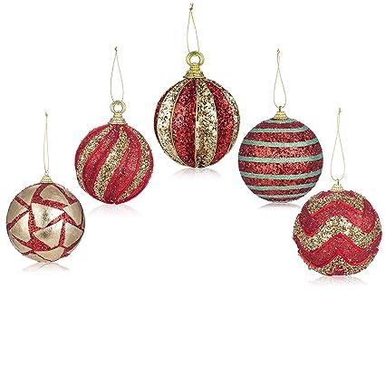 Christmas Ornament Sets.Santa S Gems Christmas Decorations Tree Ornaments Set Red And Gold In Keepsake Box