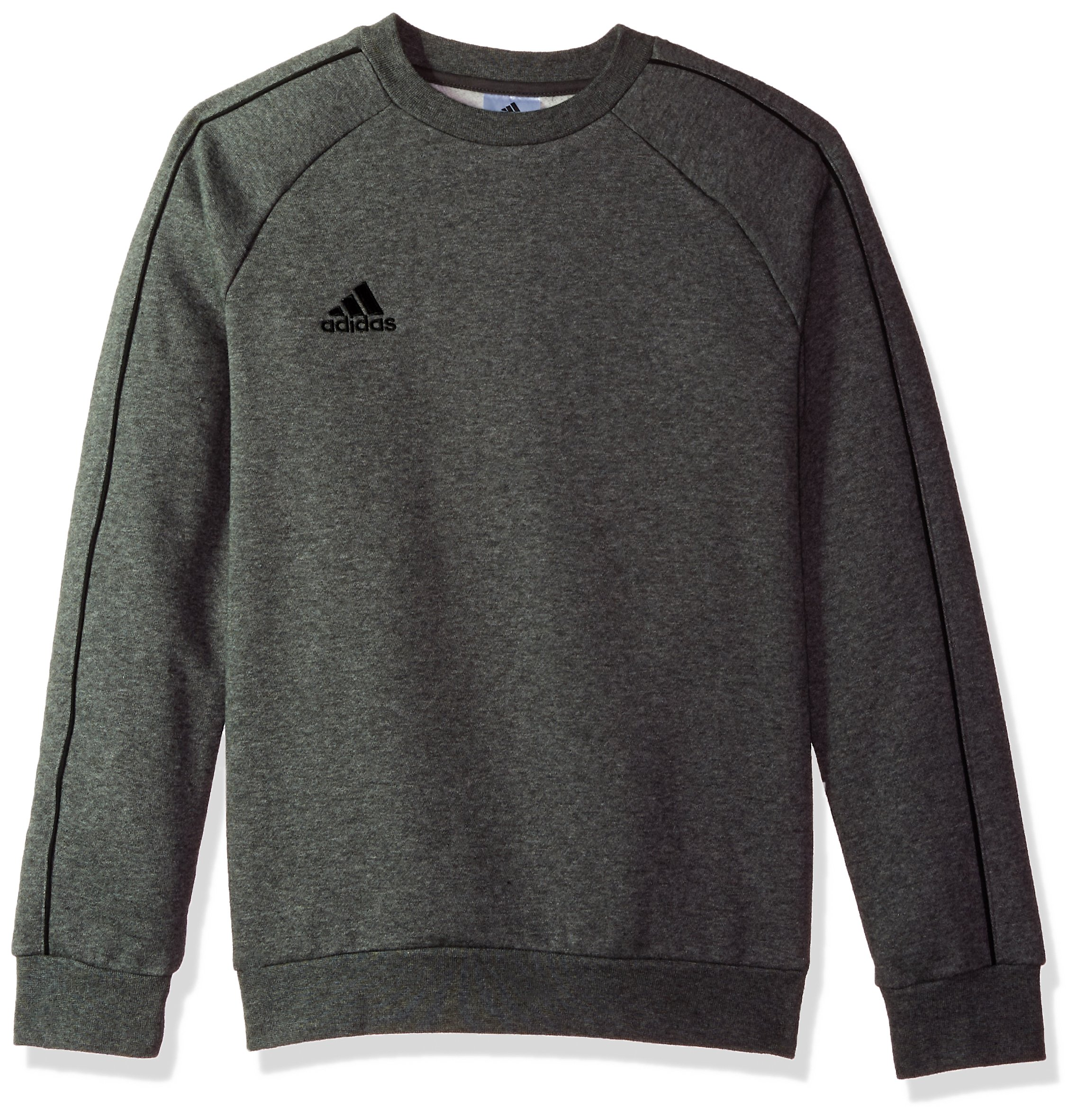 adidas Juniors' Core 18 Soccer Sweatshirt, Dark Grey Heather/Black, Medium by adidas