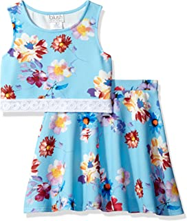 87e77265d6 Blush by Us Angels Girls' Big 2pc Pique Print & Lace Bodice with Flare Skirt
