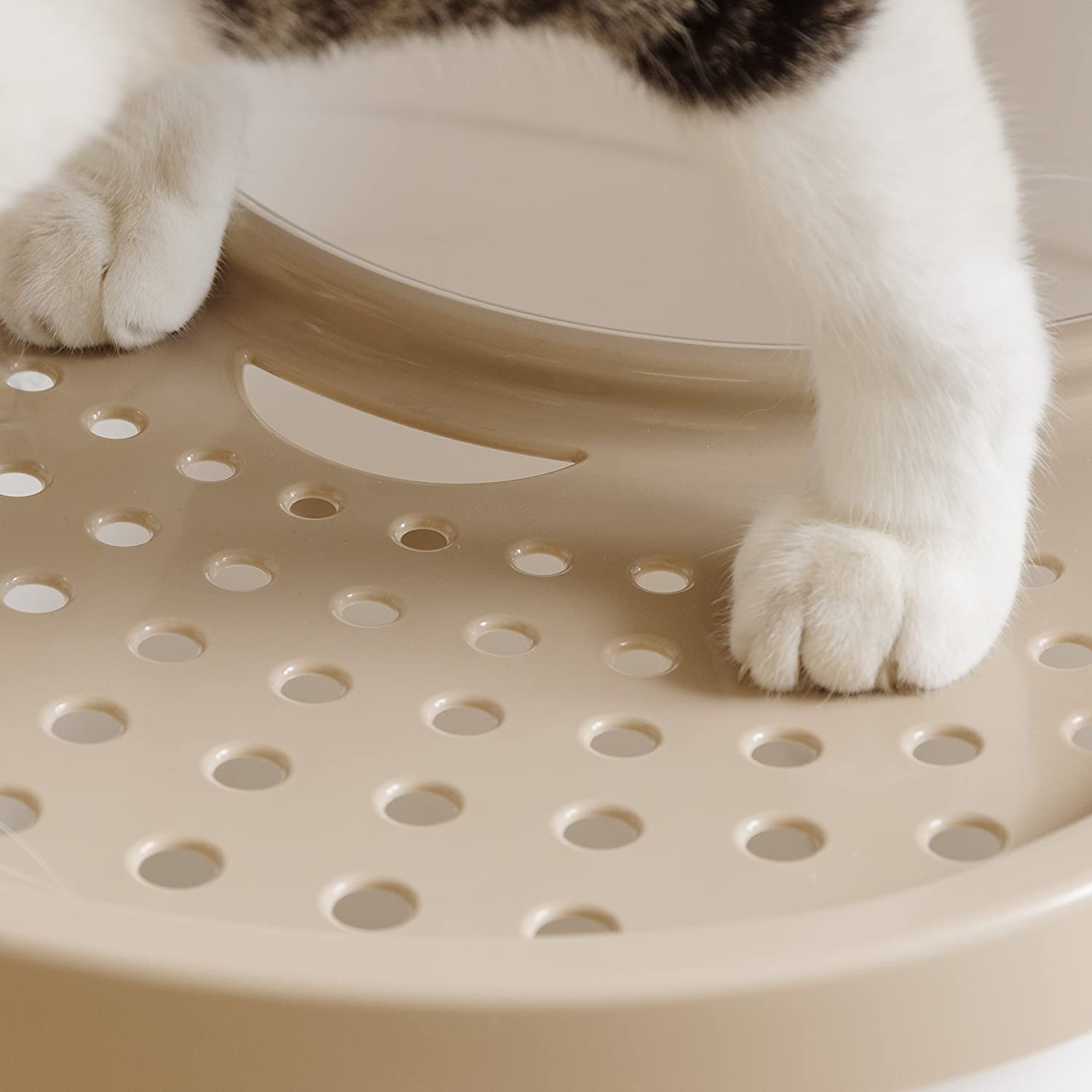 Gray /& White IRIS Top Entry Cat Litter Box with Cat Litter Scoop