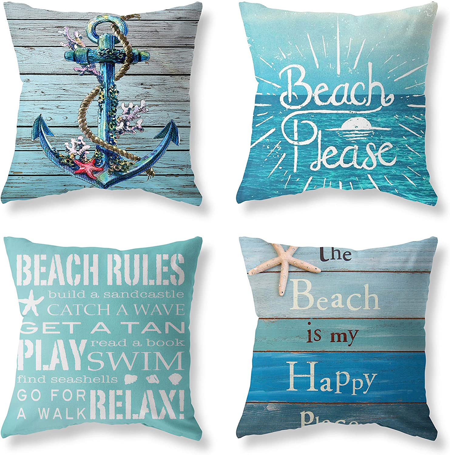 """LuckyCow Nautical Wood Beach Rules Quote Holiday Blue Wood Grain Marine Theme Throw Pillow Covers 18""""x18"""" Outdoor Bench Decoration Pillowcase Set of 4"""