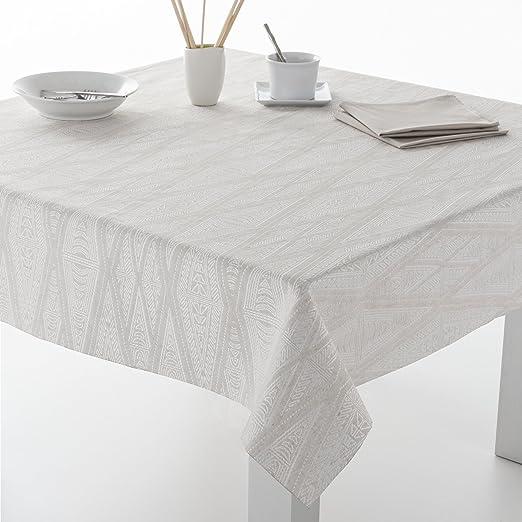 ESTELA - Mantel Jacquard Lloret Color Lino - 140x300 cm. - Incluye servilletas - 52% Poliéster / 28% Algodón / 20% Lino: Amazon.es: Hogar