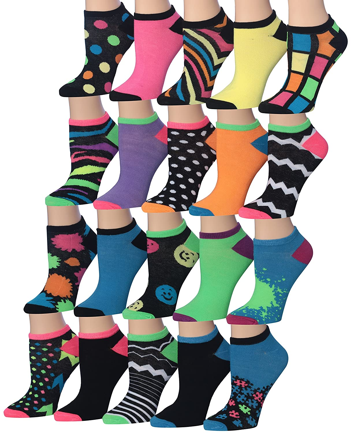 Tipi Toe Women's 20 Pairs Colorful Patterned Low Cut/No Show Socks WL07-AB