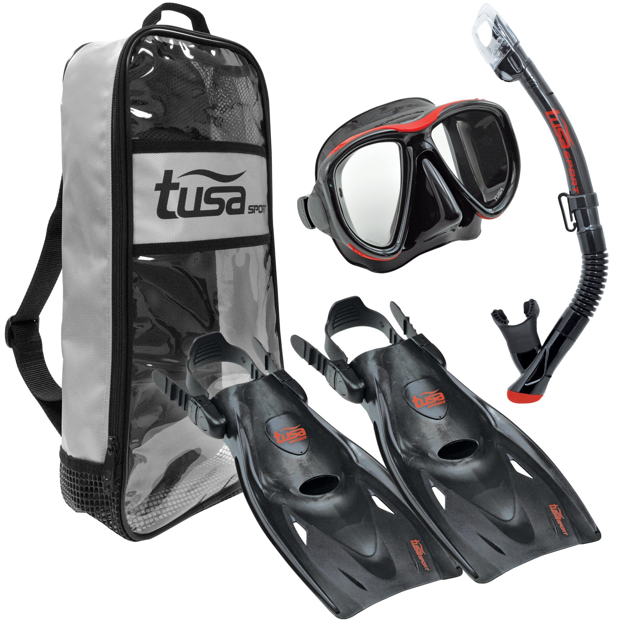 TUSA Sport Adult Powerview Mask, Dry Snorkel, and Fins Travel Set, Medium, Black/Red