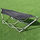 Giantex Portable Folding Hammock Lounge Camping Bed Steel Frame Stand W/Carry Bag