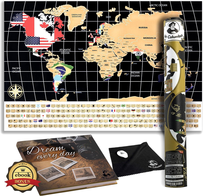 Scratch off – Póster de mapa del mundo con banderas de país, para viajes, educación, y diversión – perfecta para los viajeros y los niños por el Sr. Colón: MrColumbusshop: Amazon.es: Oficina