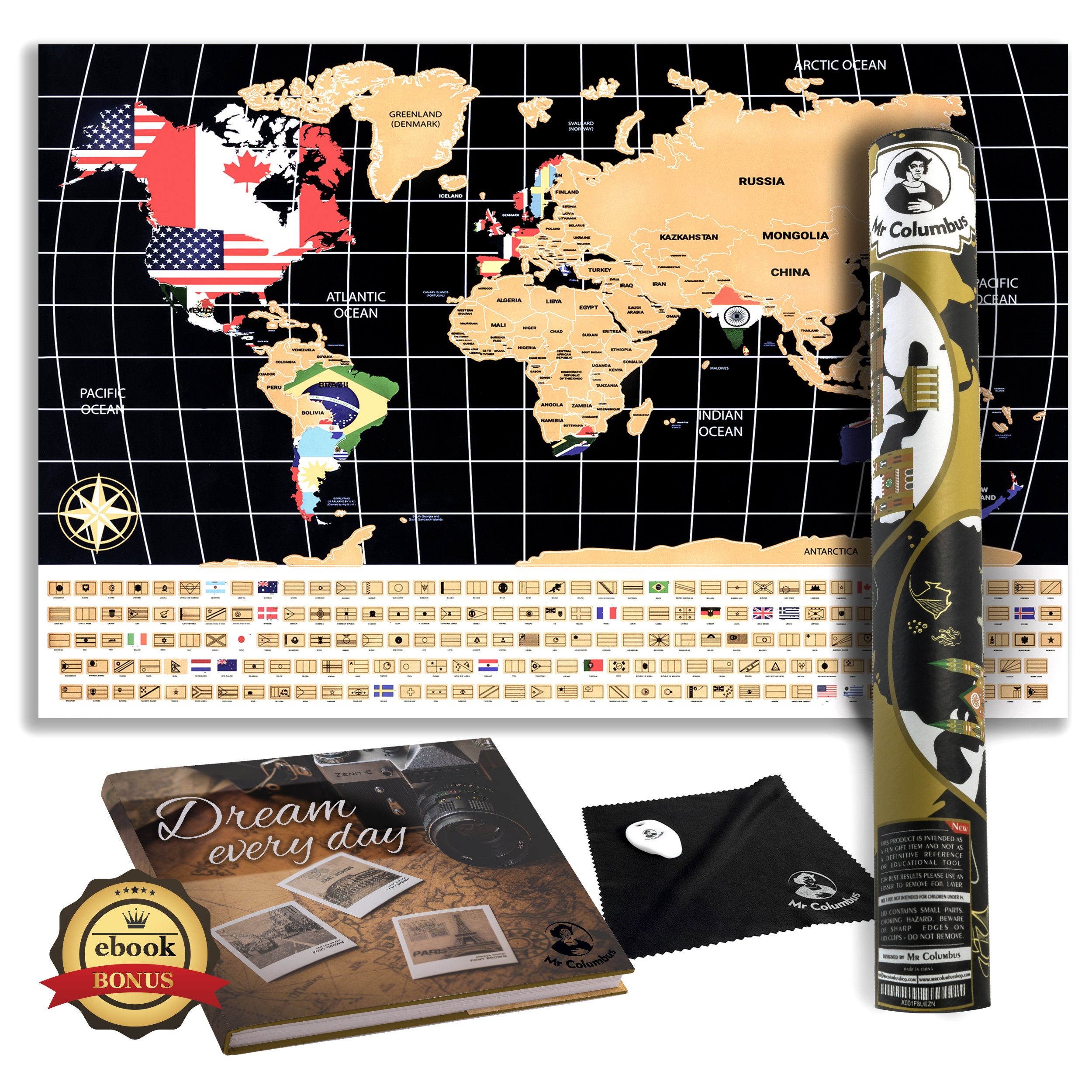 scratch off world map poster with country flags for travel education and 720562926982 ebay. Black Bedroom Furniture Sets. Home Design Ideas