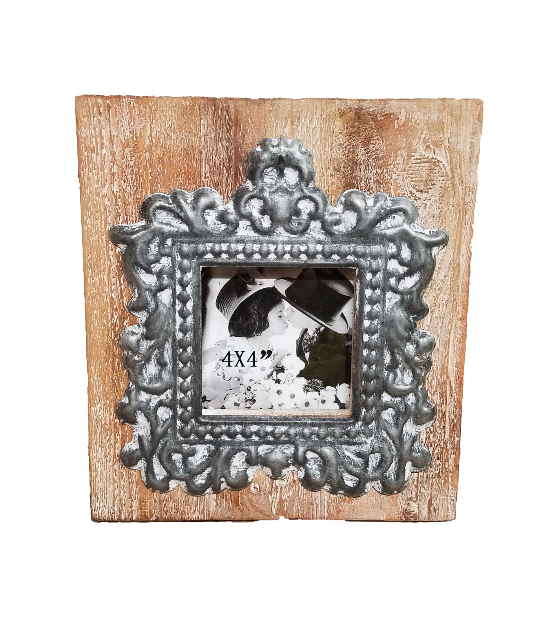 AT Vintage Wood and Metal Picture Frame Modern Farmhouse Decor