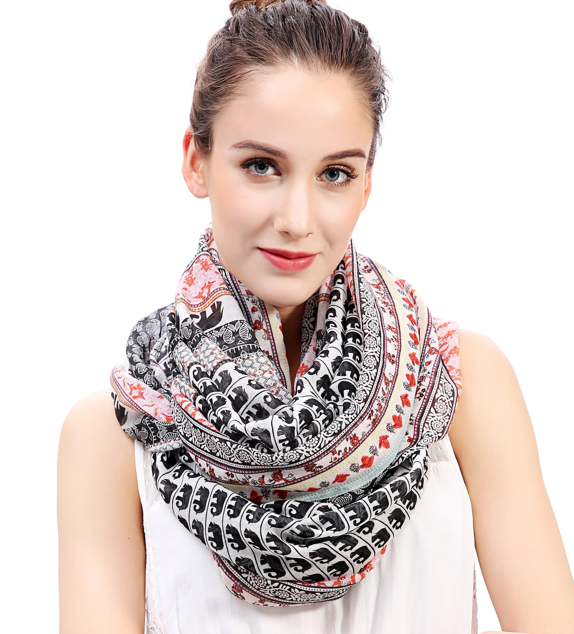 Lina & Lily Boho Elephant Print Women's Infinity Scarf Lightweight (White & Black & Red)
