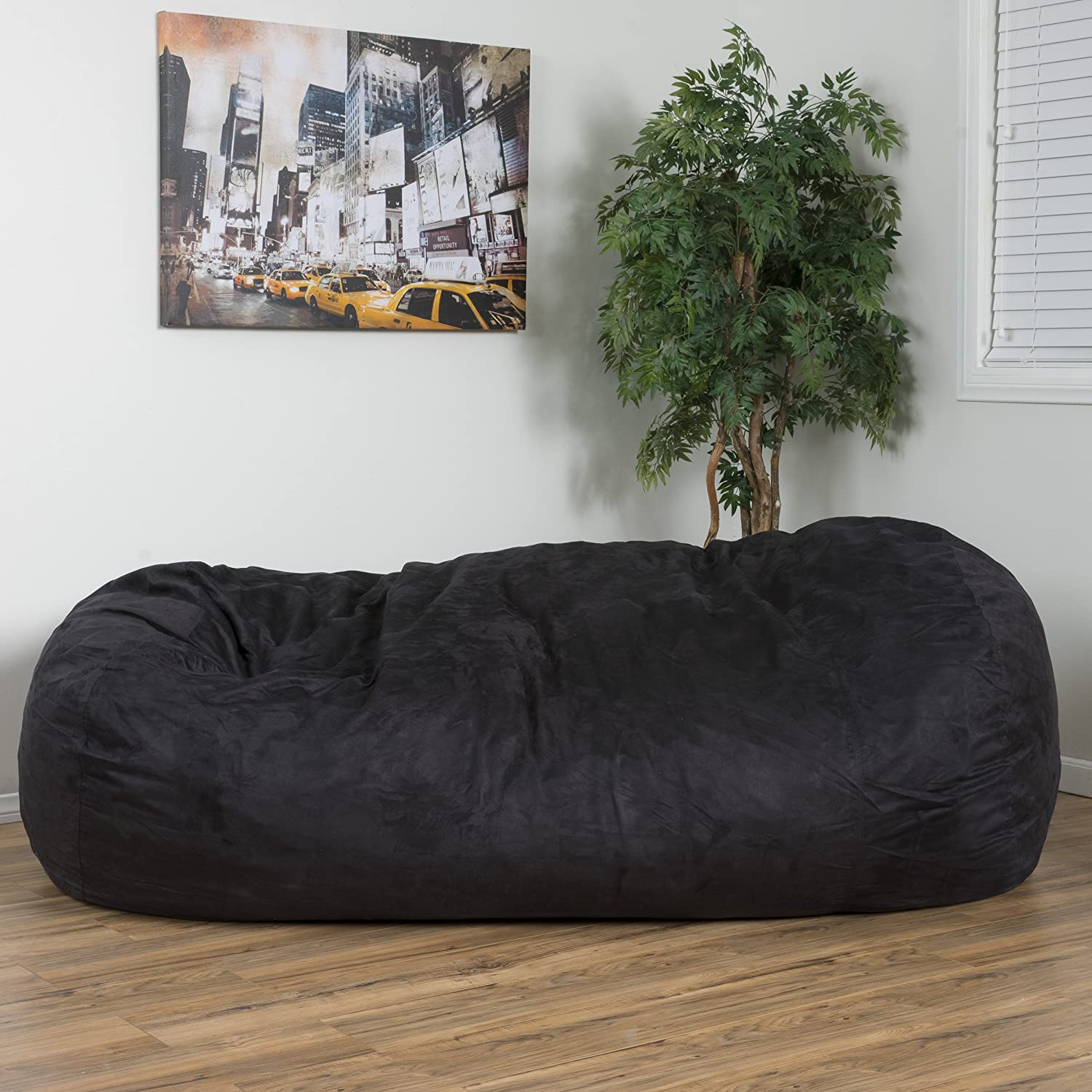 Amazon.com: David Faux Suede 8 Feet Lounger Bean Bag (Black): Kitchen U0026  Dining