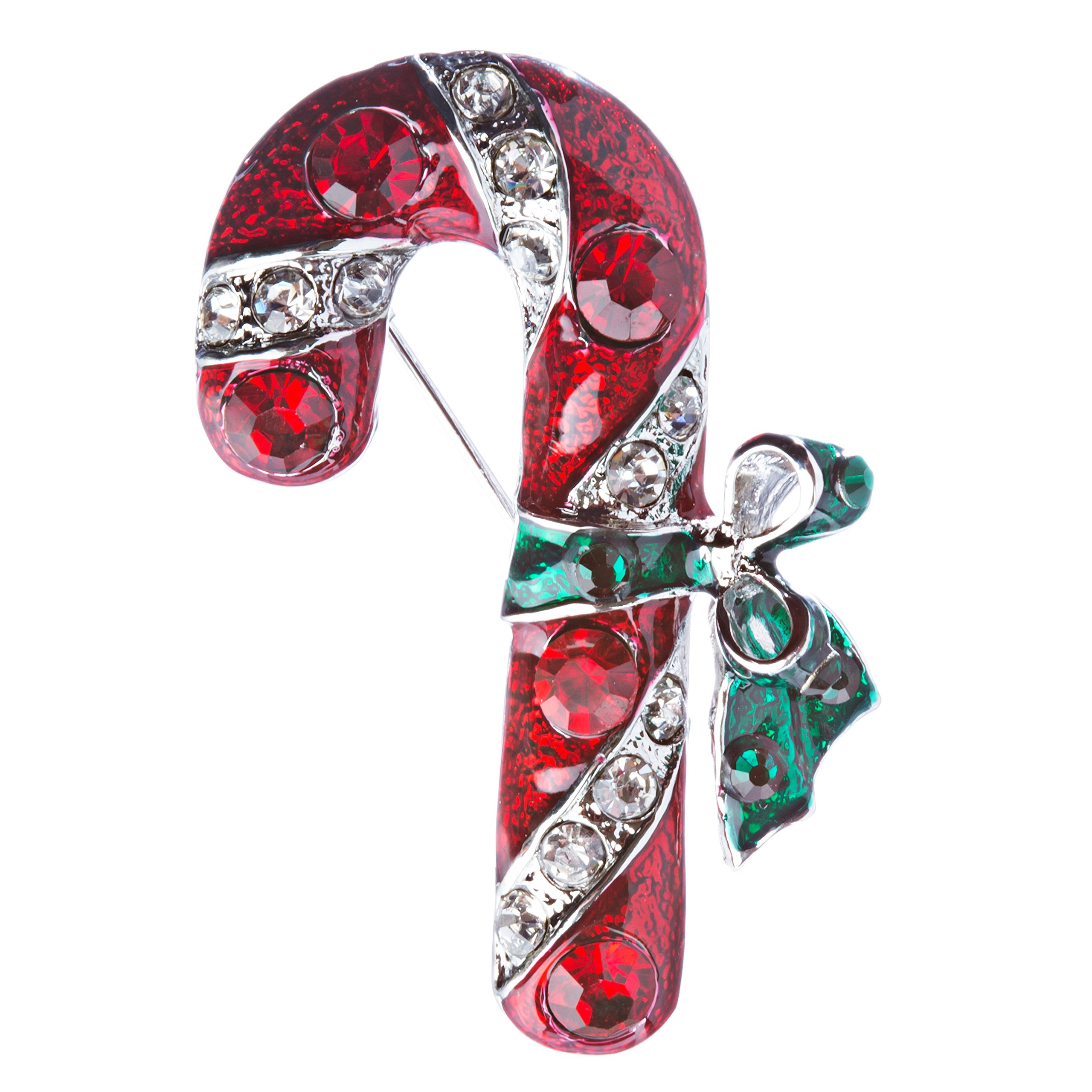 ACCESSORIESFOREVER Women Christmas Jewelry Crystal Rhinestone Holiday Candy Cane Brooch Pin BH126 Silver