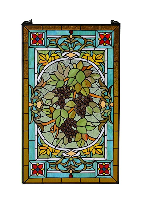 Large Stained Glass Window.20 X 34 Large Tiffany Style Stained Glass Window Panel Grape
