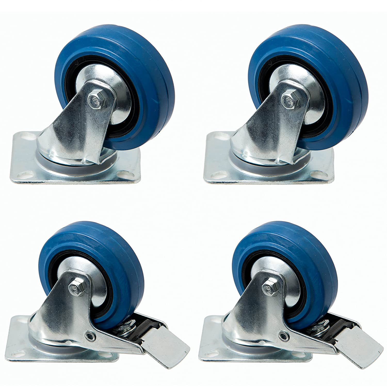 4 pieza de Blue Wheels 100 mm, rodamiento ruedas con freno como ...