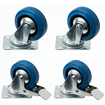 4 pieza de Blue Wheels 100 mm, rodamiento ruedas con freno como transporte rollo azul