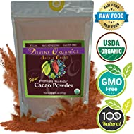 Divine Organics Raw Cacao Powder / Raw Cocoa Powder - Certified Organic - Premium Rio Arriba - Smoothies, Hot Chocolate, Baking, Shakes, Add to Coffee - Rich in Magnesium (16oz)