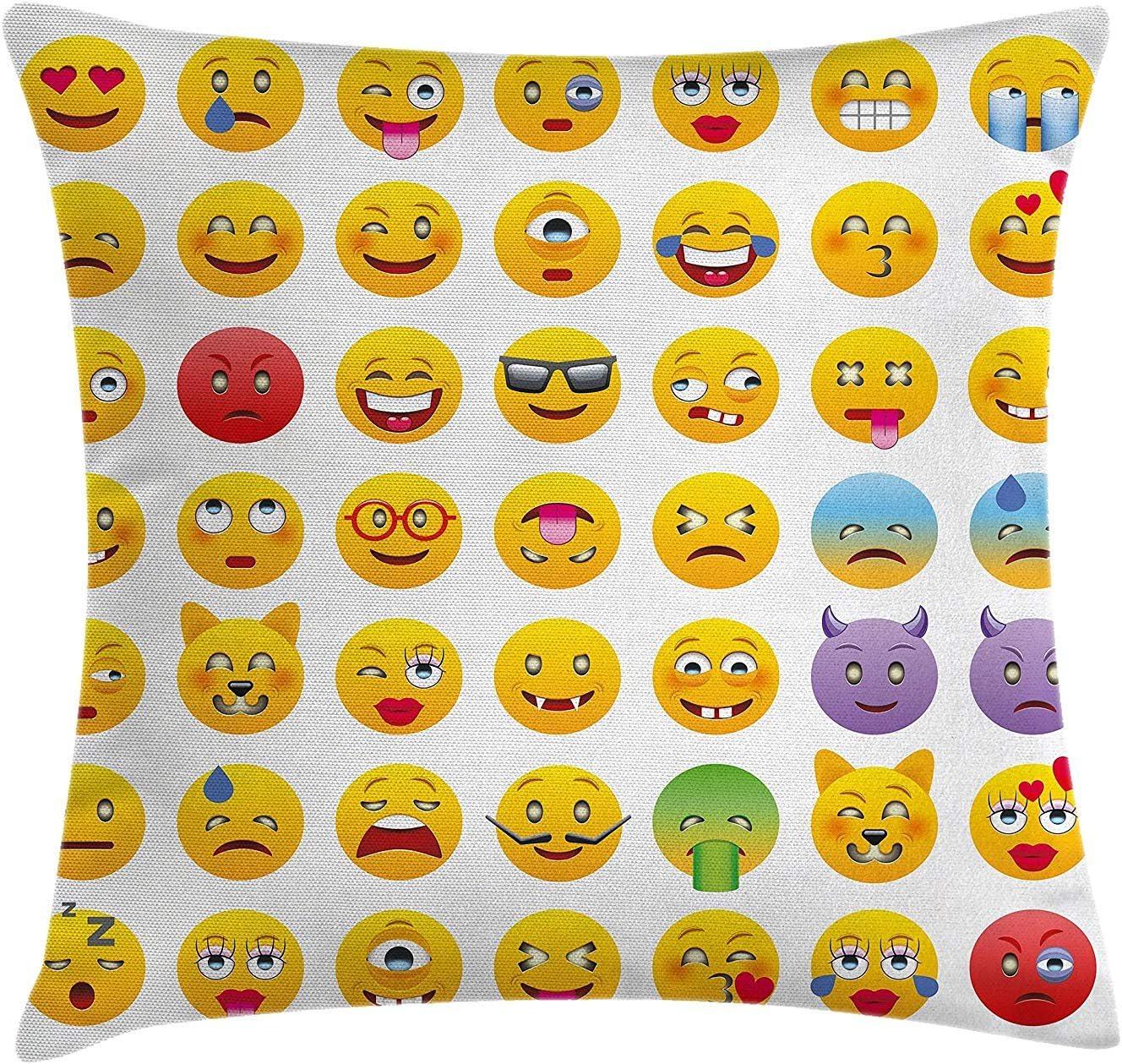 Rainbow Space Emoji Pillow Cushion