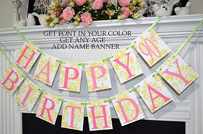 90th Birthday Banner Happy Floral Yellow Pink Gold