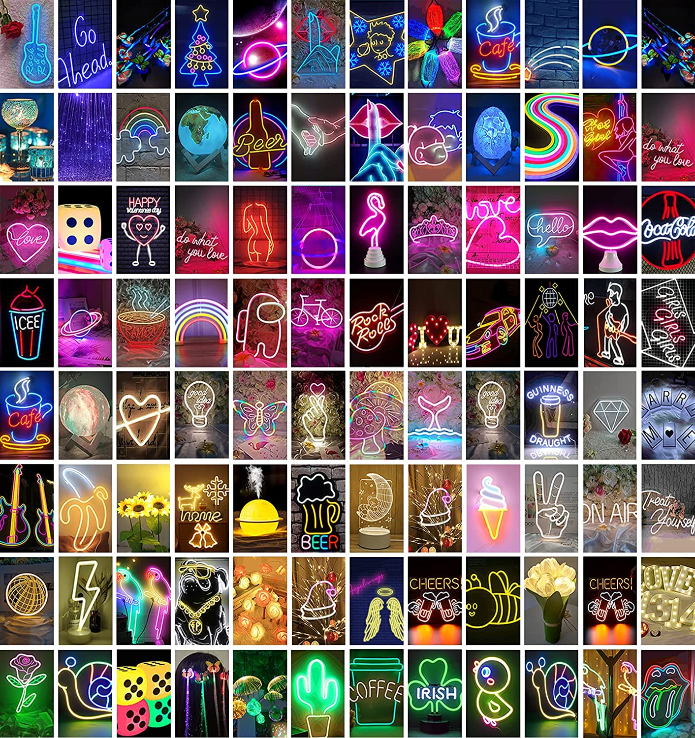 Wall Collage Kit Room Decor for Bedroom Aesthetic Pictures,100 Set 4x6 inch,Neon Posters for Room Aesthetic, Dorm Photo Wall Decor for Teen Girls and Boys