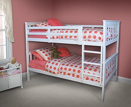 Amazon Com White Bunk Beds For Girls And Boys Kids Twin Over Twin