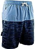 GUGGEN Mountain Homme Short De Bain Plage Natation Bermuda Pant Court De Sport Maillot De Bain avec Motif Bleu Noir Rayé