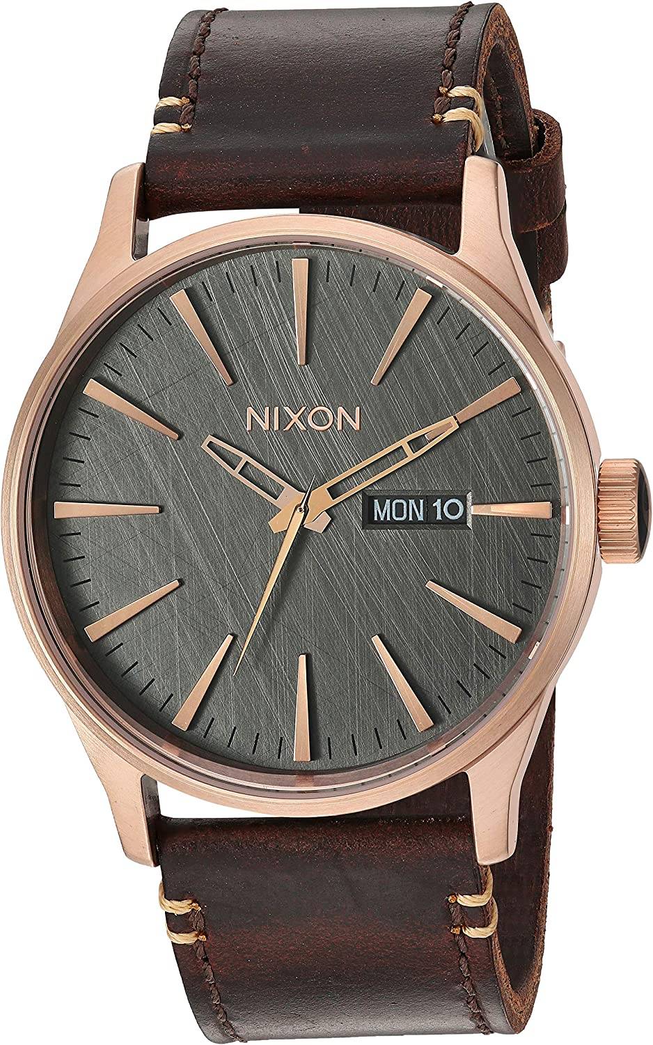 NIXON Men s Stainless Steel Japanese Quartz Fitness Watch with Leather Strap, Rose Gold, 23 Model A1052001-00