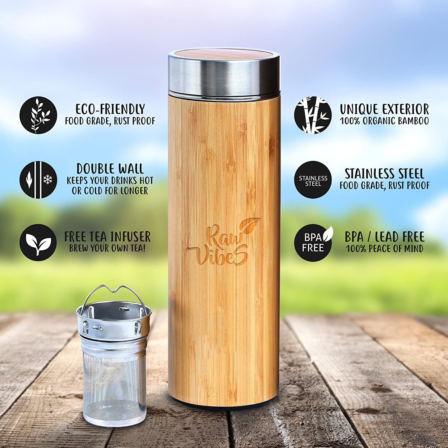 Amazon.com | Original Natural Bamboo Tumbler Tea Infuser Water ...