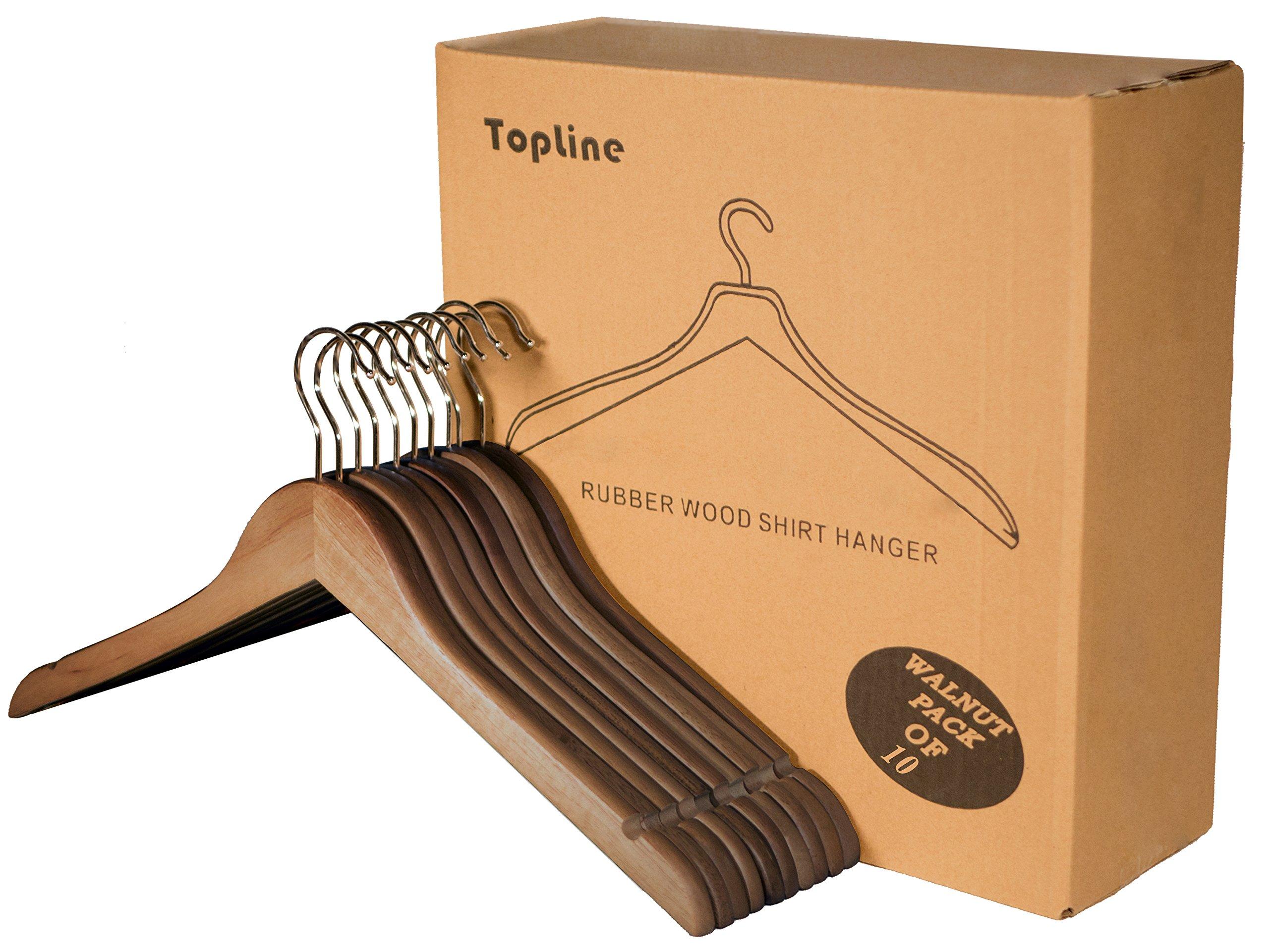 Topline Classic Wood Shirt Hangers - Walnut Finish (10-Pack)