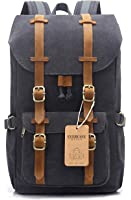 """EverVanz Outdoor Canvas Leather Backpack, Travel Hiking Camping Rucksack Pack, Large Casual Daypack, College School Backpack, Shoulder Bags Fits 15"""" Laptop Tablets"""