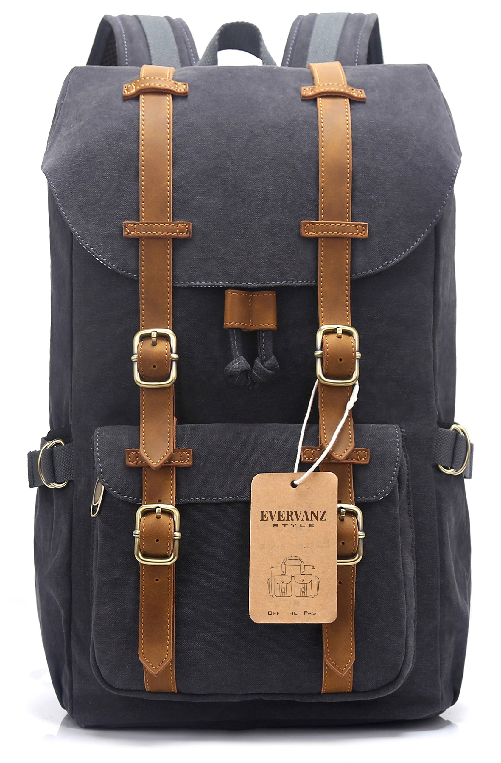 EverVanz Outdoor Canvas Leather Backpack, Travel Hiking Camping Rucksack Pack, Large Casual Daypack, College School Backpack, Shoulder Bags Fits 15'' Laptop Tablets by EverVanz