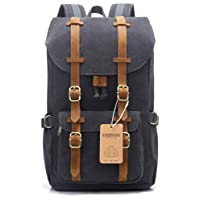 "EverVanz Outdoor Canvas Backpack, Travel Hiking Camping Rucksack Pack, Large Casual Daypack, College School Backpack, Shoulder Bags Fits 15"" Laptop Tablets"