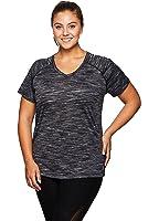 RBX Active Women's Plus Size Space Dye Short Sleeve V-Neck Tee Shirt