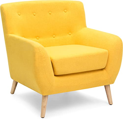 Cheap Best Choice Products Linen Upholstered Modern Mid-Century Tufted Accent Chair living room chair for sale