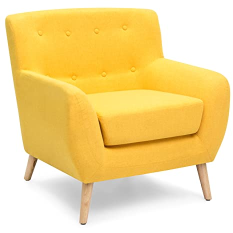 . Best Choice Products Linen Upholstered Modern Mid Century Tufted Accent  Chair for Living Room  Bedroom  Yellow