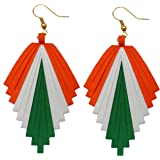 Designers Collection Multicolour Non-Precious Metal Paper Quilling Tri Colour Earrings for Women