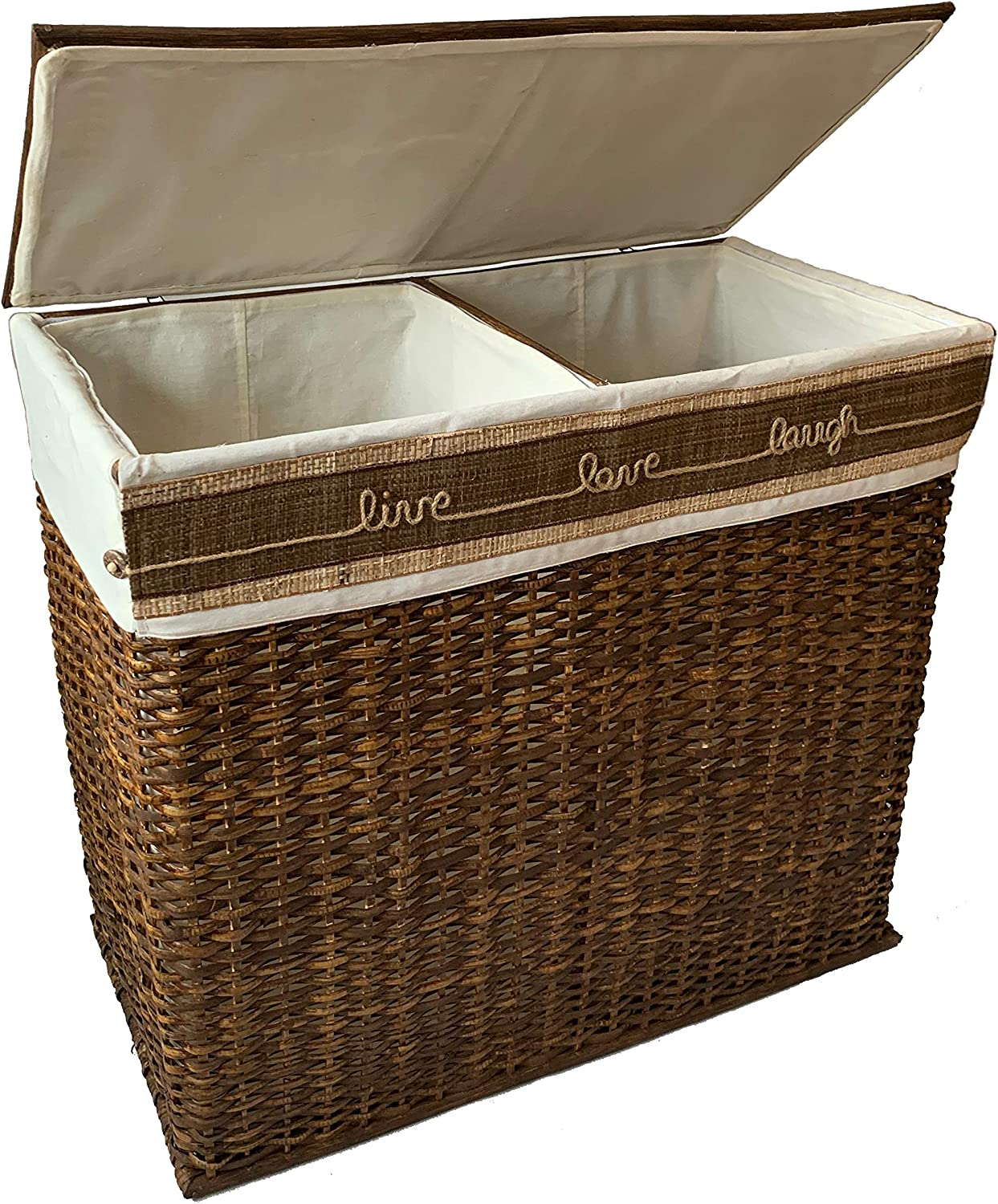 Handcrafted Wicker Oversized 2 Compartment Section Divided Laundry Hamper Sorter Organizer Handwoven Natural Rattan Basket with Lid, Cloth Liner, Coconut Button, Jute Rope Design, Raffia Weave Accent