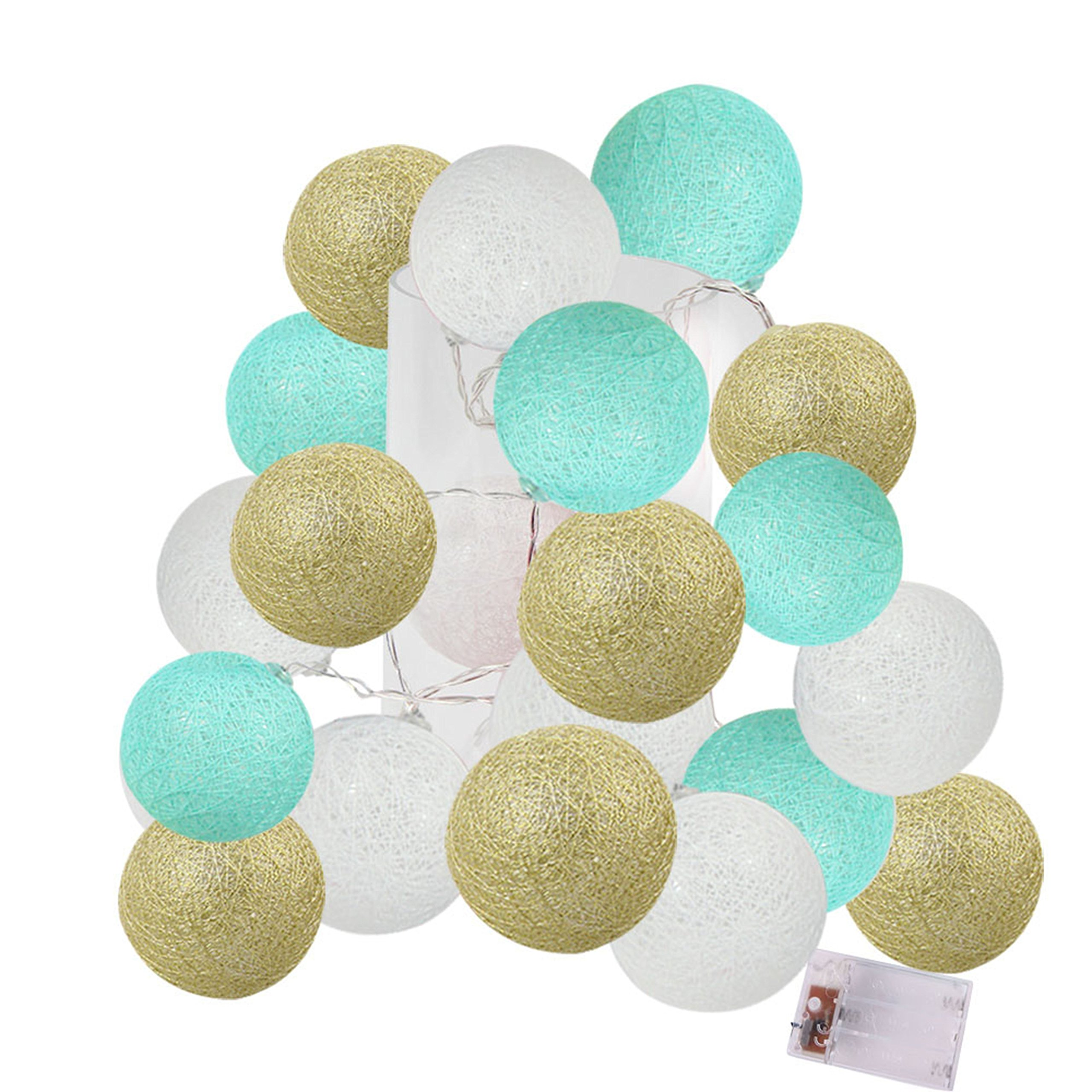 2.5m 20 LED Mint Green Gold Whtie Cotton Balls String Lights Battery Operated LED Garland Outdoor Garden Wedding Party Christmas Decorations Kids Room Decoration Lights