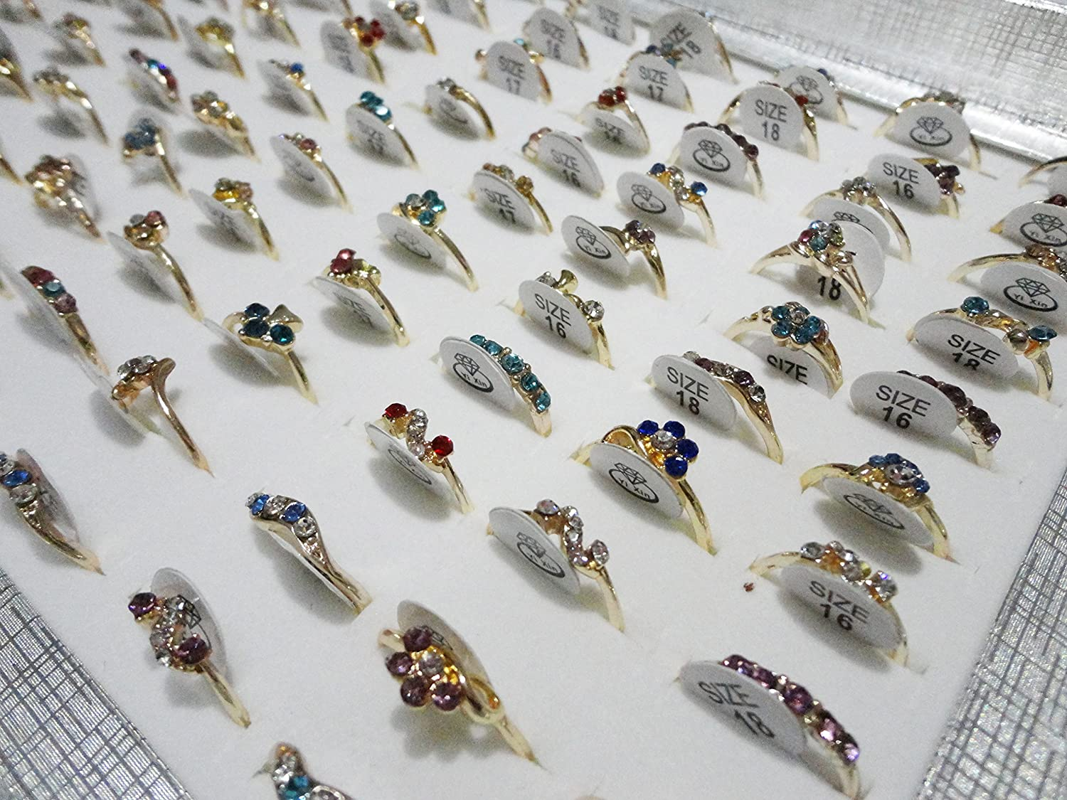 AIHIQI Wholesale Lots 100pcs Colorful Rhinestone Mixed Style Finger Rings for Women Girl Gift
