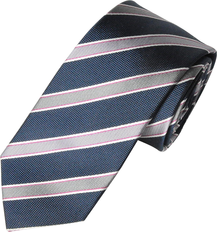 Wide Blue Hand Woven 100/% Pure Silk Neck Tie with Blue Diagonal Stripe Design