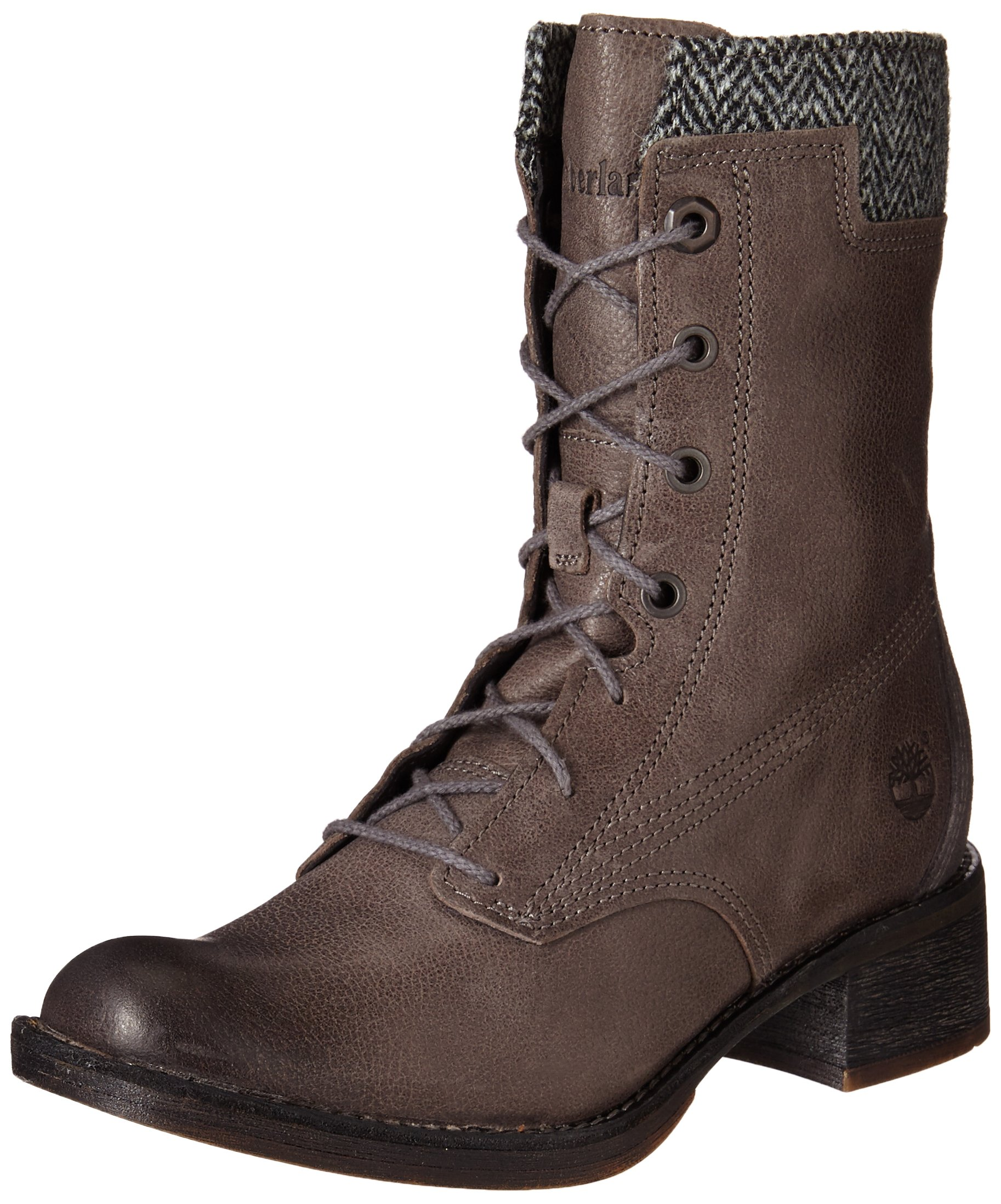 Timberland Women's Whittemore Lace-Up Boot, Dark Grey Woodlands/Grey Harris Tweed Wool, 10 M US
